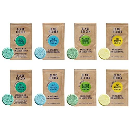 Blaue Helden 8 x Power Tabs Mix   Detergente para lavavajillas, baño, cristal y limpiador multiusos   Limpiador biodegradable   Sin microplástico   Pastillas para una limpieza potente y sostenible
