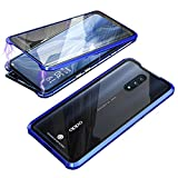 HIKERCLUB Magnetic Adsorption Case Full Body Protection Built-in Screen Protector Front and Back Double Sided Glass Anti Scratch Luxury Metal Bumper Case (Blue/Clear, Oppo Reno 10x Zoom)