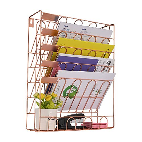 Spacrea Hanging File Holder Organizer - 6 Tier Wall Mount File Organizer for Women Hanging Wall File for Office School or Home Rose Gold