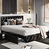 Tiptiper Faux Leather Upholstered Bed, Queen Size...