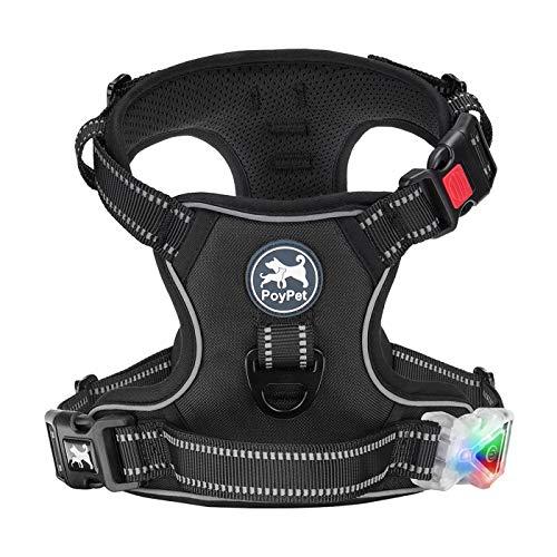 PoyPet LED-Hundegeschirr, blinkend, kein Ziehen, reflektierend, verstellbar, kein Würgen, Haustierweste mit 2 Leinenbefestigungen vorne und hinten (klassisches Schwarz, XL)