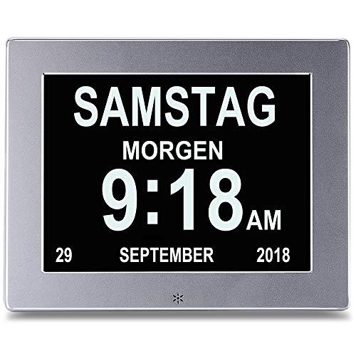 """SENXINGYAN 8\"""" Digital Wecker,Digitaler Kalender Tag Uhr Für Demenz sehschwachen Gelesen Werden, Silver"""