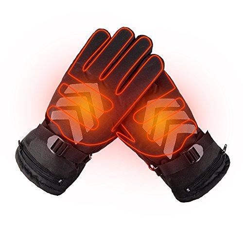 高品質ヒーター手袋 充電式ホットグローブ 電気暖房手袋 義務手袋 反射ストライプ 裏起毛 防水 防風 バ...