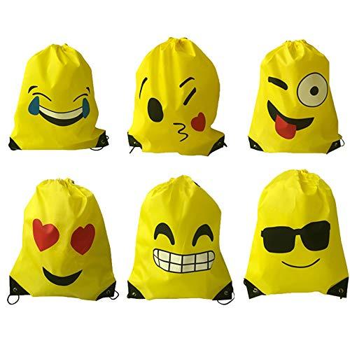 Limeo Emoji Zaino con Coulisse Emoji Coulisse Zaino PE Borse Borsa Sportiva Emoji Borsa da Ginnastica Emoji Zaini Emoji con Coulisse per Bambini Borsa Sportiva Stampata Sacchetto del PE per Bambini
