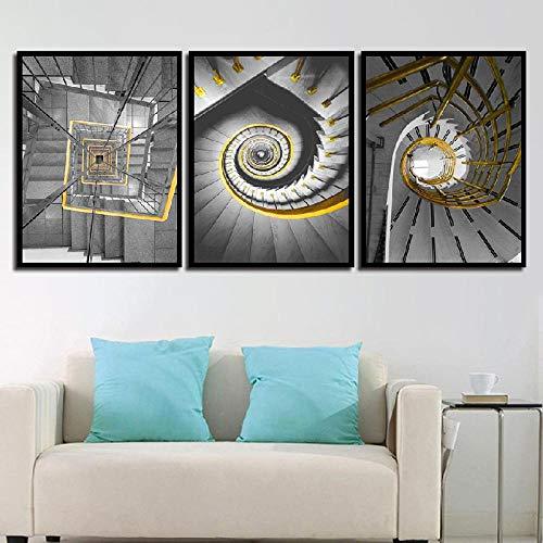 Cuadro Escalera De Caracol Abstracto Arquitectura Material Tejido Impresión Artística Imagen Usado para lienzos Decorativo de Salon Dormitorio ( 3x50x70 cm ) Enmarcado