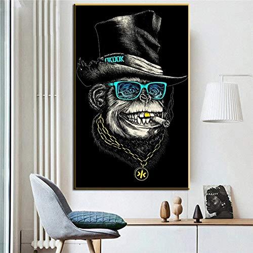 UIOLK Animal Graffiti Art Hip Hop Smoking Monkey Lienzo Pintura Dibujos Animados Arte de la Pared Poster Print...