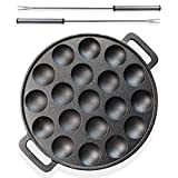 electric abelskiver pan - Lilu Living Stuffed Pancake Grill Pan with 15 holes - Heavy Duty Non-Stick Cast Iron Poffertjes Pancake Pan, Takoyaki or Aebleskiver Cooking Plate - Complete with 2 Turning Fork Picks