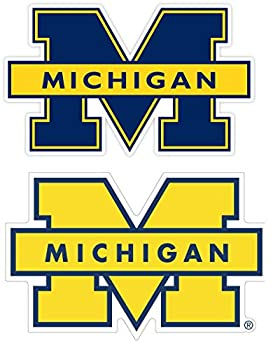 Michigan Sticker  Set of 2  University of Mich Vinyl Stickers //Any-Size// Football Michigan Wolverine Vinyl Decal for Car Bumper Truck Laptop Window Team Logo  3