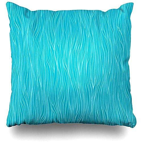 Kissenbezug,Schmutziges Blaues Buch-Gewellte Wellen-Aqua-Natur Verwickelte Farbe Farbton-Farbe Lockiges Design Zeichnen Sie Dekorativen...