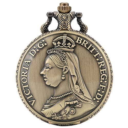 Fashion Queen Victoria van het Verenigd Koninkrijk Patroon Pocket Horloge voor Mannen, Clear Grote Witte Wijzerplaat Quartz Pocket Horloges voor Vrouwen, Klassieke Legering Ketting Pocket Horloge voor Jongens