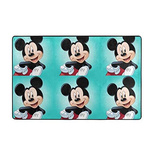 Alfombra antideslizante grande de Mickey Mouse con dibujos animados para sala de estar, alfombra de piso de 60 x 90 cm