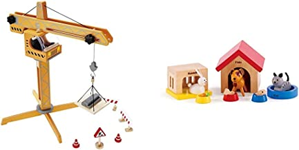 Award Winning Hape Playscapes Crane Lift Playset & Family Pets Wooden Dollhouse Animal Set by Hape