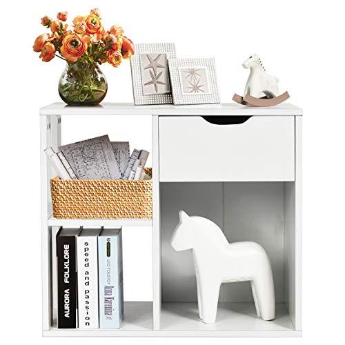COSTWAY Beistelltisch mit Ablage und Stauraum, Bücherregal Weiß, Couchtisch Nachttisch Holz, Sofatisch für Wohnzimmer, Schlafzimmer 60x30x52cm