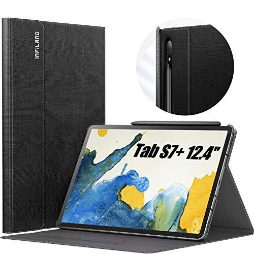 INFILAND Hülle für Samsung Galaxy Tab S7+/S7 Plus 12.4 (T970/T975/T976) 2020, Hochwertige mit Mehreren Winkeln Schutzhülle Tasche mit Auto Schlaf/Wach Funktion, Schwarz