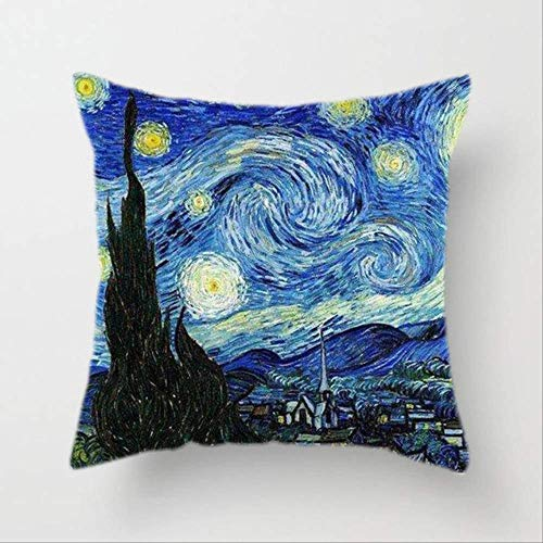 Hope Fodera per Cuscino Van Gogh Pittura A Olio Divano Cuscino Decorativo per La Casa Cuscino Girasole Autoritratto Stampa Cielo Stellato Federa 45x45cm U
