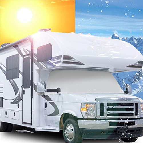 Mofeez RV Class C Ford 1997-2020 Windshield Cover (RV Motorhome with Mirror Cutouts)