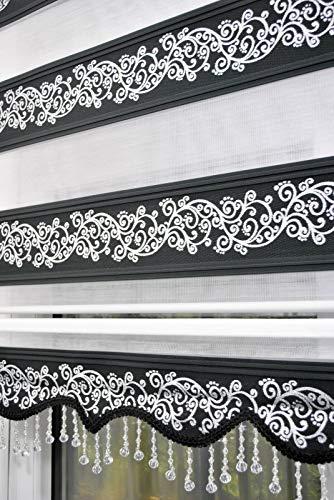 kskeskin Duo Rollo 140 cm x 200 cm schwaz silberranken, Doppelrollo mit Alukassette mit breiter Beschwerung und Perlen Volant