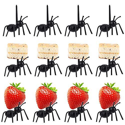 Tenedores de Fruta de Forma Hormigas Trabajadoras Tenedores de Frutas Postre Ensalada Tenedores Vajilla Múltiples Usos 12pcs para Fiesta - Negro