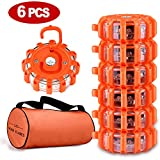 Tobfit 6 Pack LED Road Flares Emergency Lights Roadside Safety Beacon Disc Flashing Warning Flare Kit with Magnetic Base & Hook for Car Truck Boats | 9 Flash Modes (Batteries Not Included) (6)