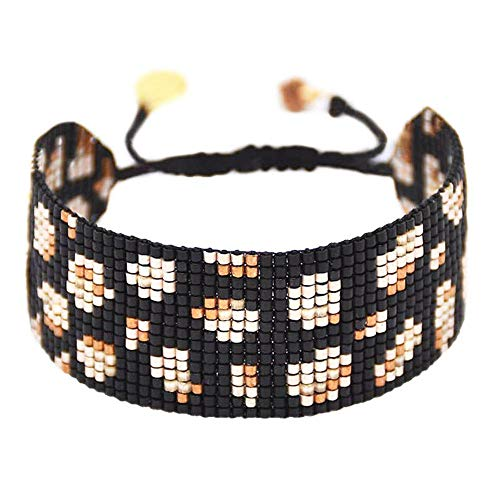 Mishky Jewelry Panthera Beaded Bracelet with Adjustable Pull-tie Closure (Black Wide)