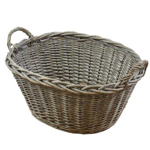 JVL geschoben Home Oval waschen Kleidung Wäschekorb mit Loop Griffe, Vollweide, Natur