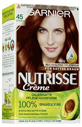 Garnier Nutrisse Creme Coloration Schoko-Braun 45 / Färbung für Haare für permanente Haarfarbe (mit 3 nährenden Ölen) - 3 x 3 Stück