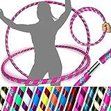 Pro Hula Hoop Reifen für Anfänger und Profis (10 Farben Ultra-Grip/Glitter Deco) TRAVEL Hula Hoop ideal für Dance, Fitness, Zirkus, Festivals & Fun! - Größe 100cm, Gewicht 650g (Rosa/ Silber Glitter)