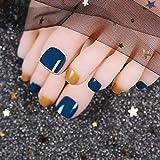 TJJF Uñas postizas 24 Unids/set Uñas Fake Toe Azul Oscuro Naranja Lovely Summer Press en Uñas de los pies Patch Girl Toe Decoración con Glue Ty