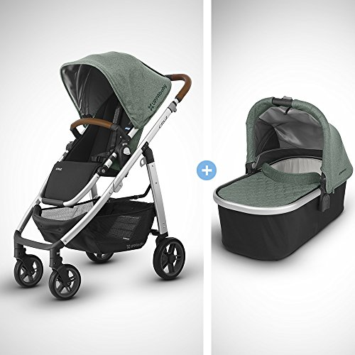 Review 2018 UPPABaby Cruz Stroller - Emmett (Green Melange/Silver/Saddle Leather) + Bassinet - Emmet...