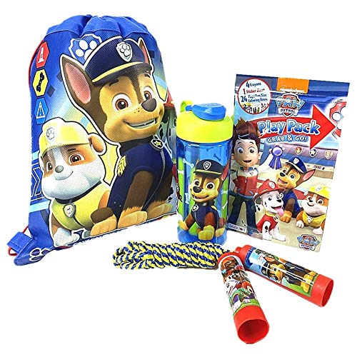 Paw Patrol Activity Set with Sling Bag, Water Bottle, Jump Rope and Grab & Go Play Pack (Include 24-Page Coloring Book, 12 Stickers, 4 Crayons)