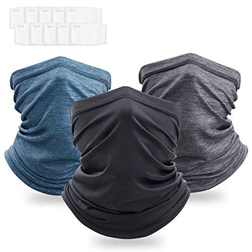 Emitever Multifunktionstuch Bandana 3 Pcs mit Filtern, Schlauchschal Sonnenschutz Atmungsaktive für Herren Damen, Waschbare Balaclava für Outdoor-Sport