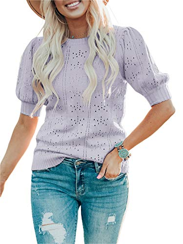 Foshow Womens Puff Short Sleeve Sweaters Tops Summer Soft Crew Neck Dot Pullover Shirt Lightweight Knit Sweater Blouse Purple