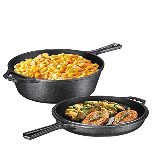 Ultimate Pre-Seasoned 2-In-1 Cast Iron Combo Cooker By Bruntmor - Heavy Duty 2.8l Skillet and Lid Set, Versatile Healthy Design, Non-Stick Kitchen Cookware, Use As Dutch Oven Frying Pan