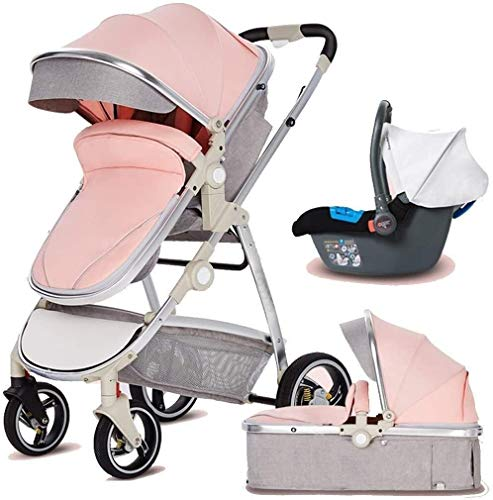 Atten Cochecito de bebé 3 en 1 Cochecito Plegable portátil con Seguridad de Cinco Puntos de arnés y de Frenos, Capazo y Silla de Paseo