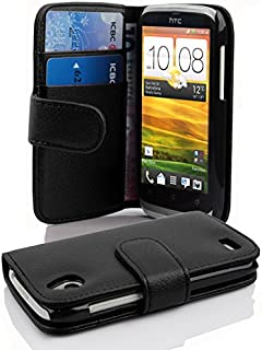 Cadorabo Book Case compatible with HTC DESIRE X in OXID BLACK - with Stand Function and Card Slot made of Structured Faux ...