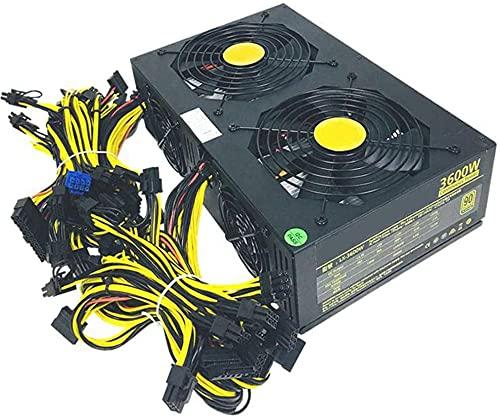 3600W Bitcoin Fuente de alimentación para minería, Fuente de alimentación para Dogecoin Fuente de alimentación de Fuente alimentación ATX Modular de Moneda Digital 12 GPU-Eth Rig Ethereum Miner