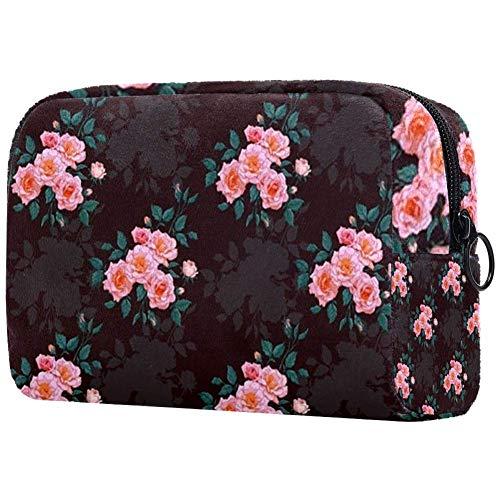 Bolsa de brochas de maquillaje personalizables, bolsas de aseo portátiles para mujeres, bolso de cosméticos, organizador de viaje, compacto flor Custer