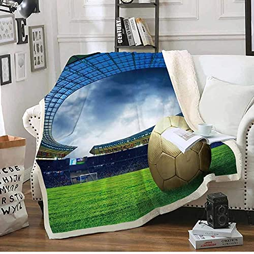 Manta de felpa con estampado de estadio de fútbol, manta de felpa de sherpa, suave, colcha de lino para decoración del hogar, techos de 150 x 200 cm x 150 cm x 200 cm