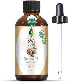 SVA Organics Nutmeg Essential Oil 1 Oz Organic Premium Therapeutic Grade 100% Pure Natural Undiluted USDA Certified Oil wi...