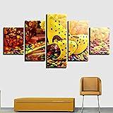 5 Aufeinanderfolgende Gemälde Leinwand Hd Drucke Malerei Wohnzimmer Bilder 5 Stücke Bunte Praline High Heels Poster Wandkunst Wohnkultur Frameless
