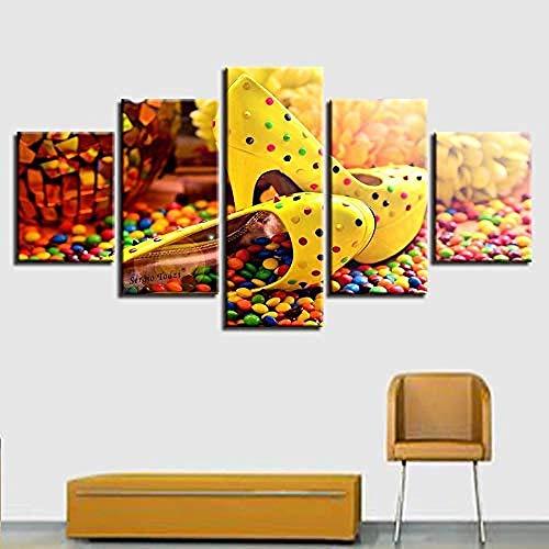 5 aufeinanderfolgende gemälde leinwand hd drucke malerei wohnzimmer bilder 5 stücke bunte schokolade candy high heels poster wandkunst wohnkultur-Outer frame