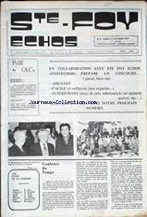 STE FOY ECHOS [No 10] du 27/12/1975 - FOTOSTROH PREPARE UN CONCOURS -M. BONNEMAISON.