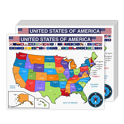 """United States Educational Map with State Flags – Geography Map for Classrooms and Libraries   Great for Kids, Students and Teachers   80lb Cardstock (216gsm)   8.5 x 11""""   10 per Pack"""