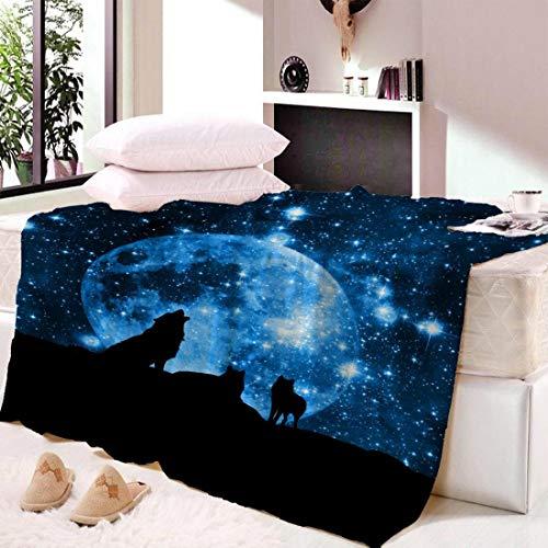 XiaoHeJD Coperte da Letto in Pile di Lupo Moon Child Galaxy Copriletto in Peluche Coperta da tiro di...