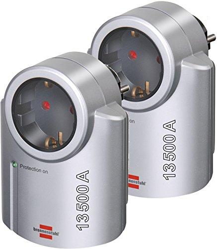 Brennenstuhl 2 Stück Primera-Line, Steckdosenadapter mit Überspannungsschutz (Adapter als Blitzschutz für Elektrogeräte) Farbe: Silber/schwarz
