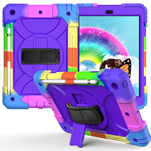 New iPad 8 10.2 2020 Case, FANSONG iPad 7th/8th Generation Rugged Case with [Screen Protector] Full Body Protective [Stylus Pen Slot] 360 Rotating Stand & Hand Strap Cover for iPad 10.2 Inch 2019/2020
