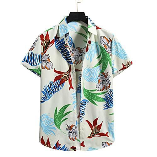 Hawaii Shirt Hombre Verano Cuello V Moda Suelta Hombre Playa Shirt Personalidad Estampado Henley Shirt Cómodo Ligera Transpirable Causal Vacaciones Hombre Camisa B-Light Yellow S