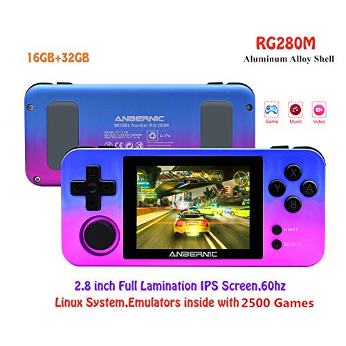 Handheld Game Console RG280M with Opening Linux Tony System 64Bit 3.5inch IPS Screen , Retro Game Console with 32G TF Card Built in 2500 Classic Games Portable Video Game Console (Gradient)