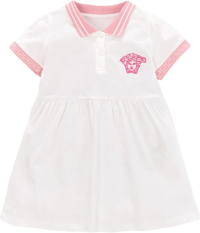 ZHTEAPR Toddler Girl Summer Dress 2-7 Years Casual Cartoon Dress Short Sleeve Polka Dots Party Playwear Dresses