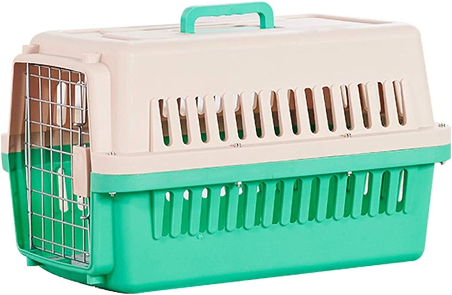 Jlxl Pet Dog Carrier Box, Portable Small Cat Checked Box Car Aircraft Transport Stainless Steel Iron Door Safety Latch (color   Green)